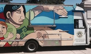 The Quiero Arepas  food truck , one of thirty food trucks and carts at a downtown Denver park.